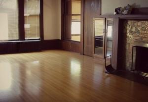Empty burnished wooden floor