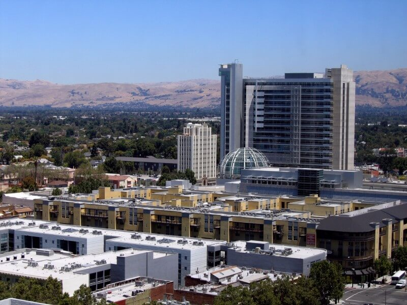 San Jose, CA - Aerial view of the downtown area