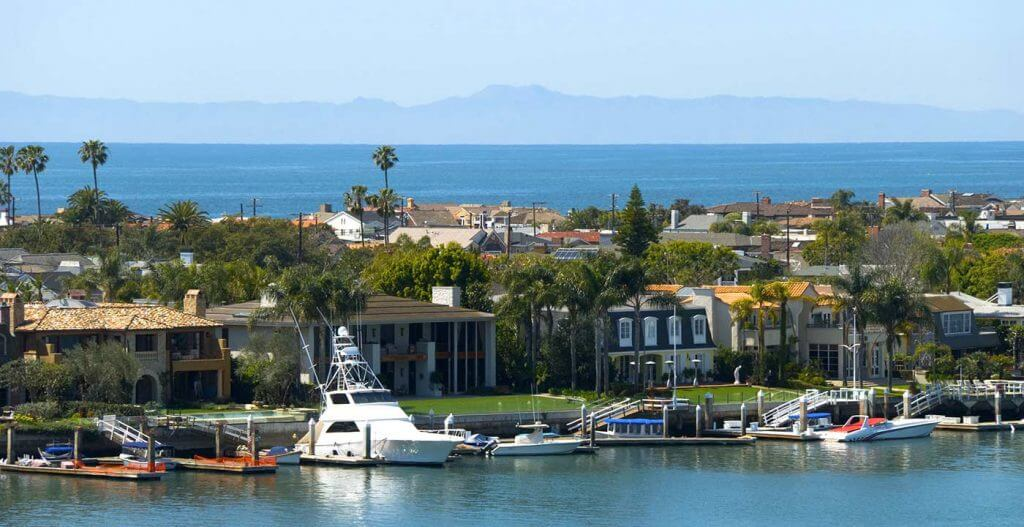 Balboa, CA - Balboa Island with Catalina background