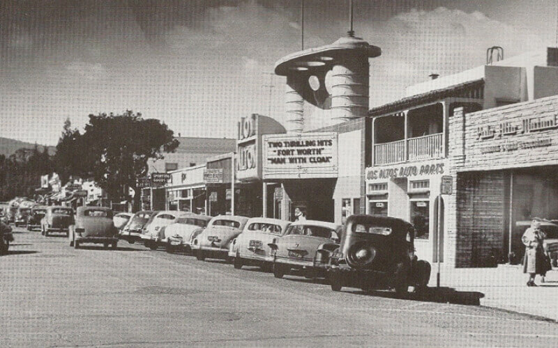 Black and White Picture of Los Altos Downtown