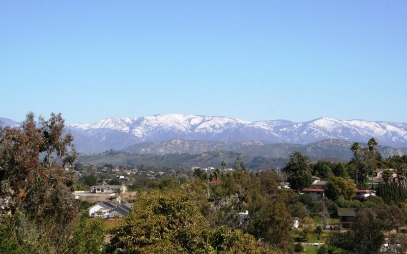 Long shot of mountains in Fallbrook