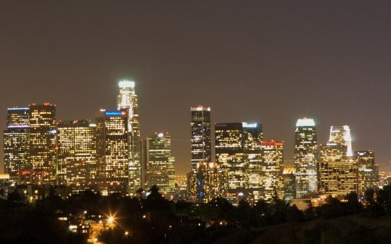 Los Angeles Skyline at Night in California