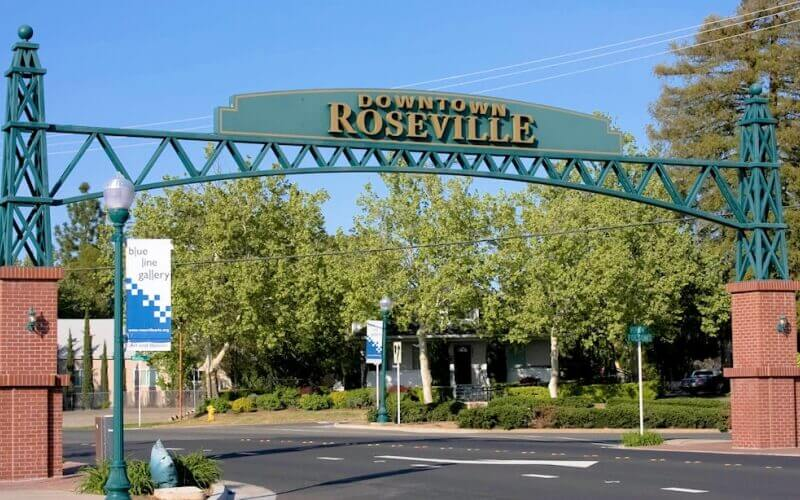 Entrance gate of Roseville City in California