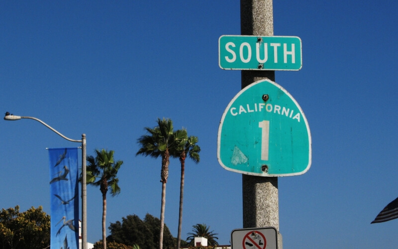 Sign board to indicate south in Laguna Beach