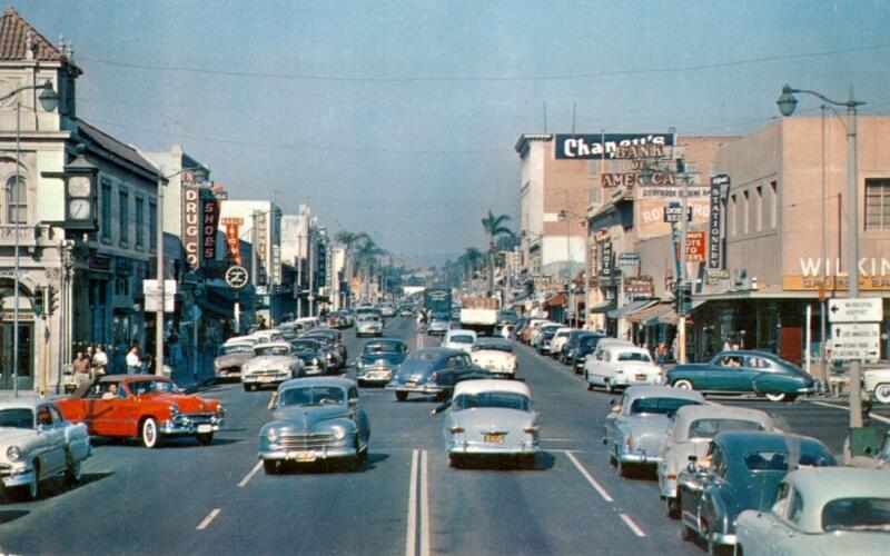 Fullerton Harbor Boulevard vintage image in 1950