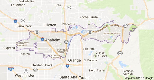 Map of Anaheim, California